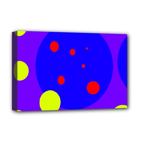 Purple and yellow dots Deluxe Canvas 18  x 12