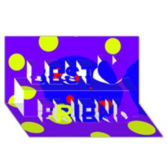 Purple and yellow dots Best Friends 3D Greeting Card (8x4)