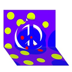 Purple and yellow dots Peace Sign 3D Greeting Card (7x5)
