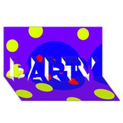 Purple And Yellow Dots Party 3d Greeting Card (8x4)
