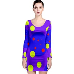 Purple and yellow dots Long Sleeve Bodycon Dress