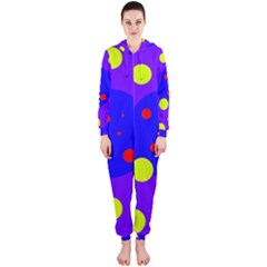 Purple and yellow dots Hooded Jumpsuit (Ladies)