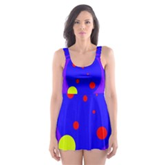 Purple and yellow dots Skater Dress Swimsuit