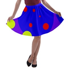 Purple and yellow dots A-line Skater Skirt