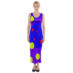 Purple and yellow dots Fitted Maxi Dress
