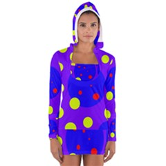 Purple and yellow dots Women s Long Sleeve Hooded T-shirt