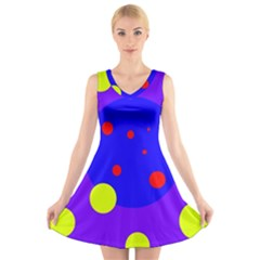 Purple and yellow dots V-Neck Sleeveless Skater Dress