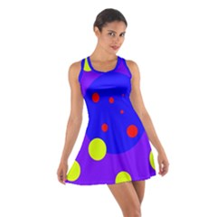 Purple and yellow dots Racerback Dresses