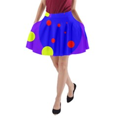 Purple and yellow dots A-Line Pocket Skirt