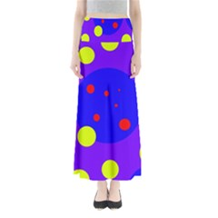 Purple and yellow dots Maxi Skirts
