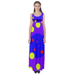 Purple and yellow dots Empire Waist Maxi Dress