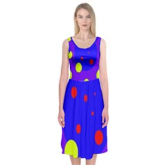 Purple and yellow dots Midi Sleeveless Dress