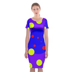 Purple and yellow dots Classic Short Sleeve Midi Dress