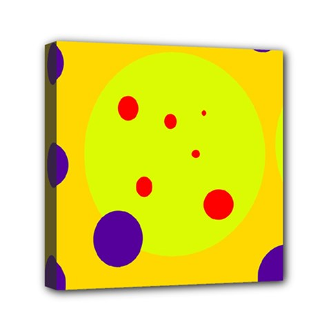 Yellow and purple dots Mini Canvas 6  x 6