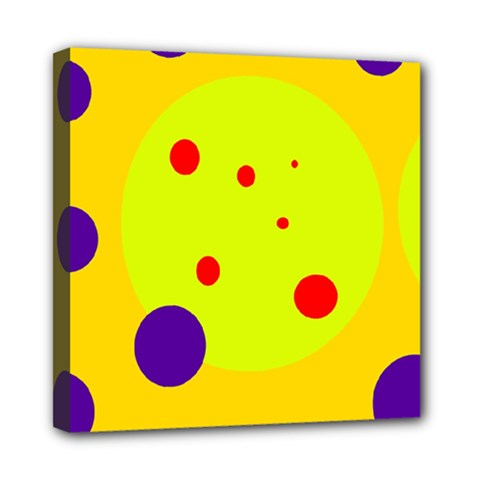 Yellow and purple dots Mini Canvas 8  x 8