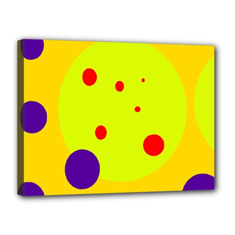 Yellow and purple dots Canvas 16  x 12