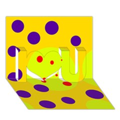 Yellow And Purple Dots I Love You 3d Greeting Card (7x5)