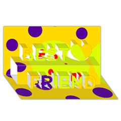 Yellow and purple dots Best Friends 3D Greeting Card (8x4)