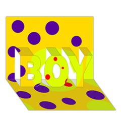 Yellow and purple dots BOY 3D Greeting Card (7x5)