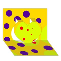 Yellow and purple dots Heart 3D Greeting Card (7x5)