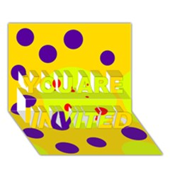 Yellow and purple dots YOU ARE INVITED 3D Greeting Card (7x5)