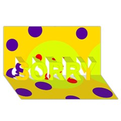 Yellow and purple dots SORRY 3D Greeting Card (8x4)