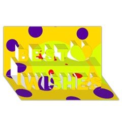 Yellow And Purple Dots Best Wish 3d Greeting Card (8x4)