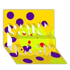 Yellow and purple dots You Rock 3D Greeting Card (7x5)