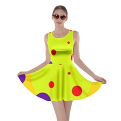 Yellow and purple dots Skater Dress