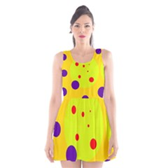 Yellow And Purple Dots Scoop Neck Skater Dress