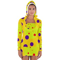 Yellow And Purple Dots Women s Long Sleeve Hooded T Shirt