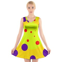 Yellow and purple dots V-Neck Sleeveless Skater Dress