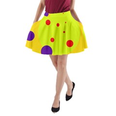 Yellow And Purple Dots A Line Pocket Skirt