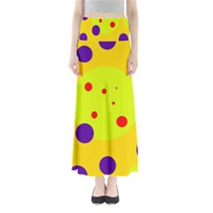 Yellow and purple dots Maxi Skirts