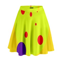 Yellow And Purple Dots High Waist Skirt