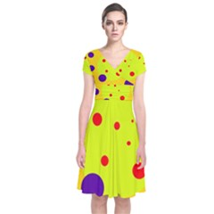 Yellow and purple dots Short Sleeve Front Wrap Dress