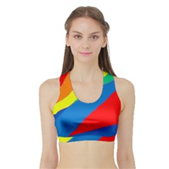 Colorful abstract design Sports Bra with Border