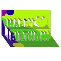 Colorful abstract design Happy Birthday 3D Greeting Card (8x4)