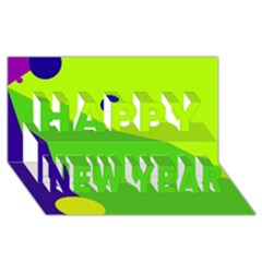 Colorful abstract design Happy New Year 3D Greeting Card (8x4)