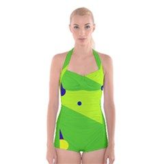 Colorful Abstract Design Boyleg Halter Swimsuit