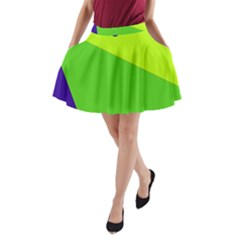 Colorful Abstract Design A Line Pocket Skirt