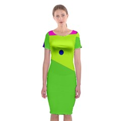 Colorful abstract design Classic Short Sleeve Midi Dress