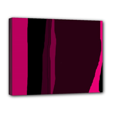 Pink and black lines Canvas 14  x 11