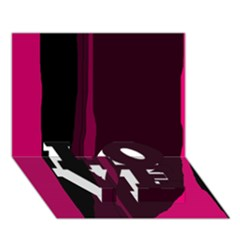 Pink and black lines LOVE Bottom 3D Greeting Card (7x5)