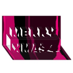 Pink and black lines Merry Xmas 3D Greeting Card (8x4)