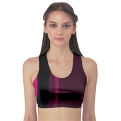 Pink and black lines Sports Bra