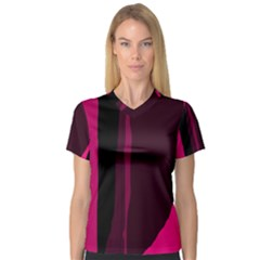 Pink and black lines Women s V-Neck Sport Mesh Tee