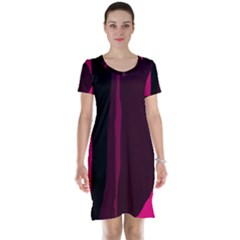 Pink and black lines Short Sleeve Nightdress