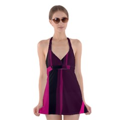 Pink and black lines Halter Swimsuit Dress