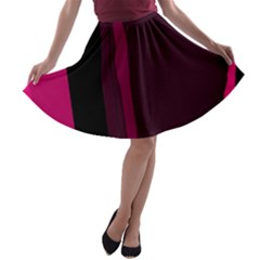 Pink and black lines A-line Skater Skirt